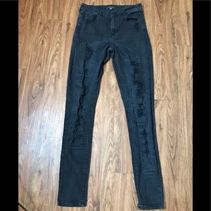 Black Distressed High Rise Jeans Junior Size 7